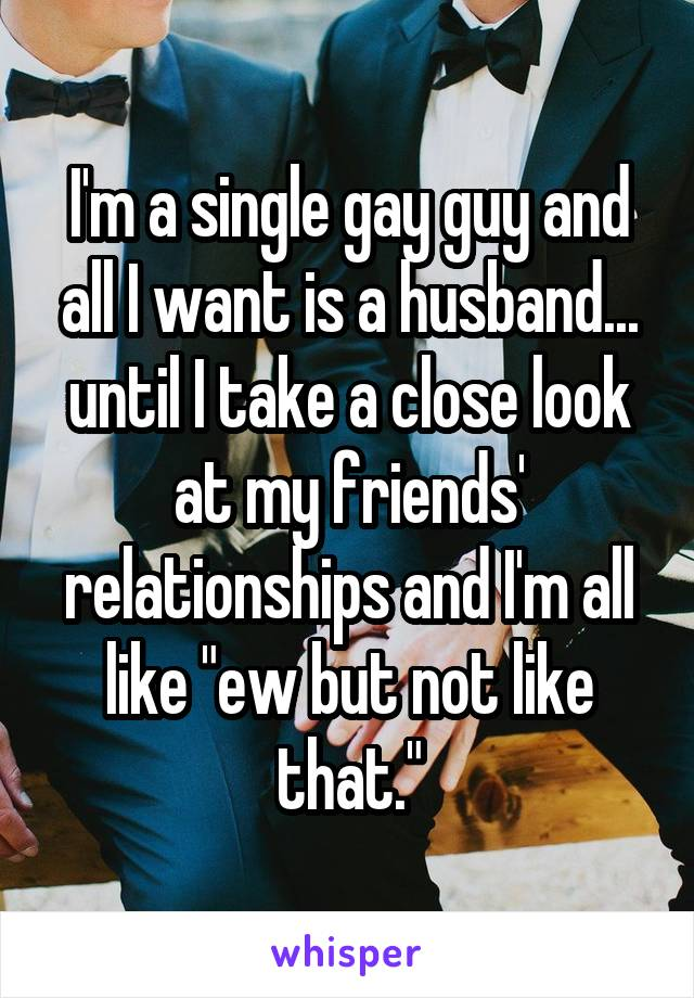 """I'm a single gay guy and all I want is a husband... until I take a close look at my friends' relationships and I'm all like """"ew but not like that."""""""