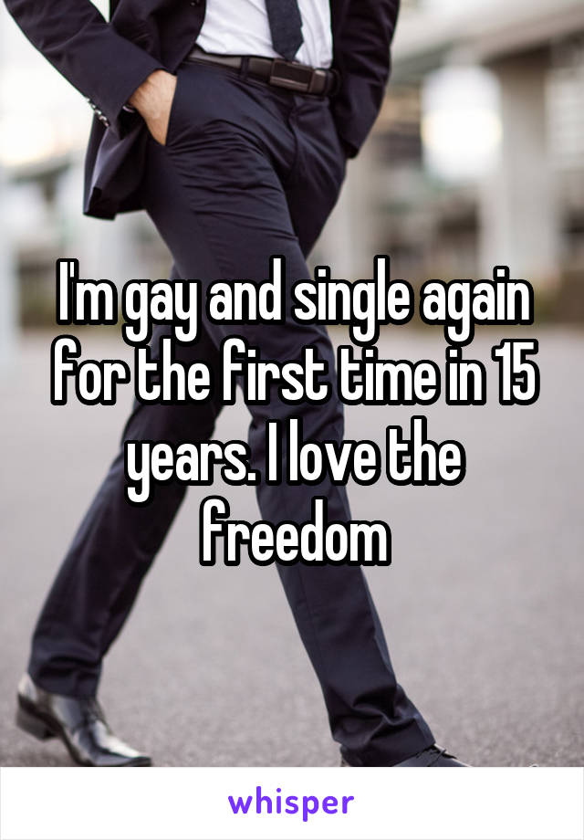 I'm gay and single again for the first time in 15 years. I love the freedom