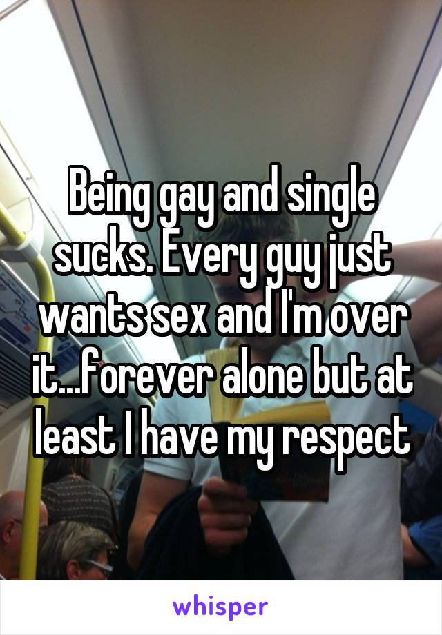Being gay and single sucks. Every guy just wants sex and I'm over it...forever alone but at least I have my respect