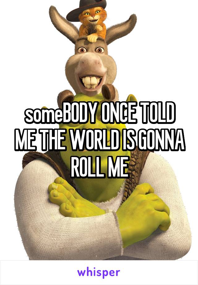 someBODY ONCE TOLD ME THE WORLD IS GONNA ROLL ME