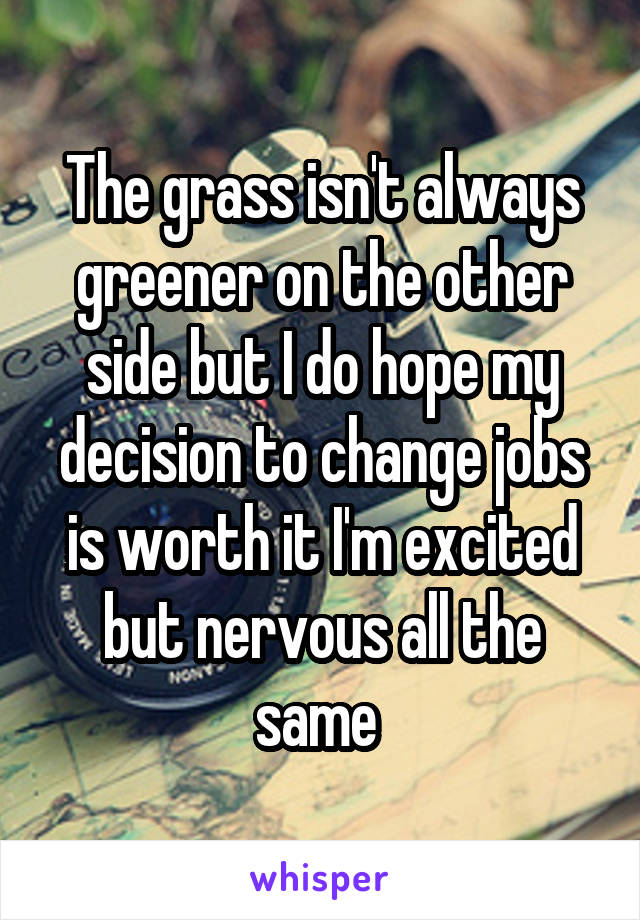The grass isn't always greener on the other side but I do hope my decision to change jobs is worth it I'm excited but nervous all the same