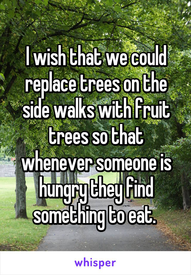 I wish that we could replace trees on the side walks with fruit trees so that whenever someone is hungry they find something to eat.