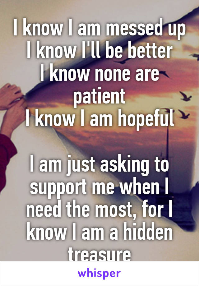 I know I am messed up I know I'll be better I know none are patient I know I am hopeful  I am just asking to support me when I need the most, for I know I am a hidden treasure