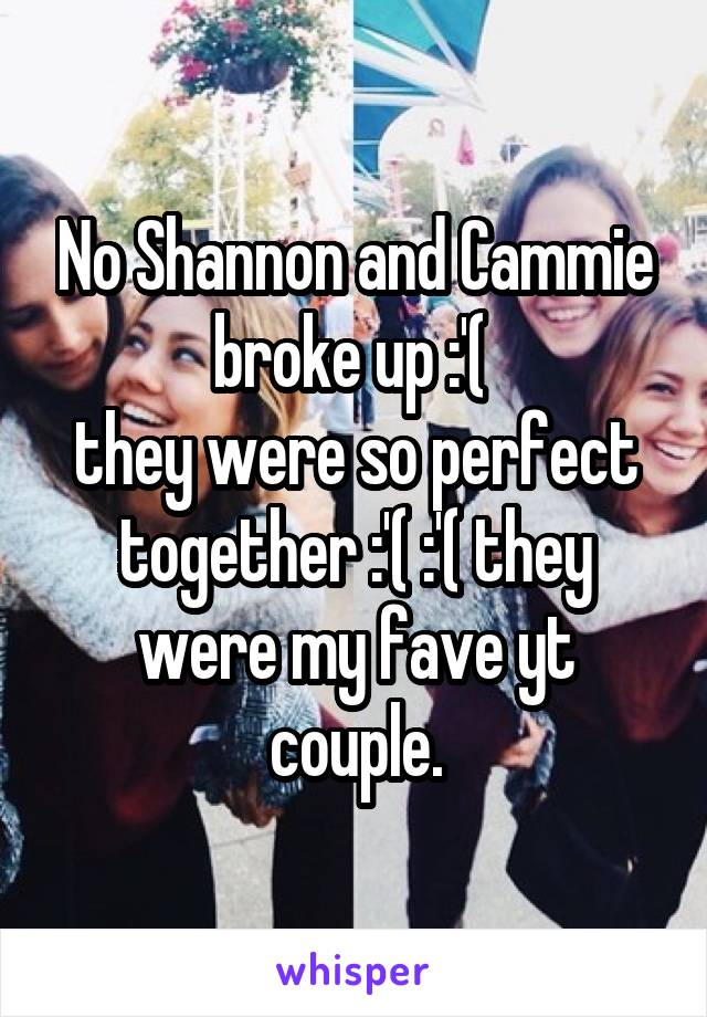 No Shannon and Cammie broke up :'(  they were so perfect together :'( :'( they were my fave yt couple.