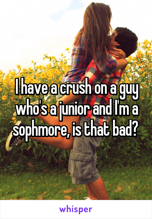 I have a crush on a guy who's a junior and I'm a sophmore, is that bad?