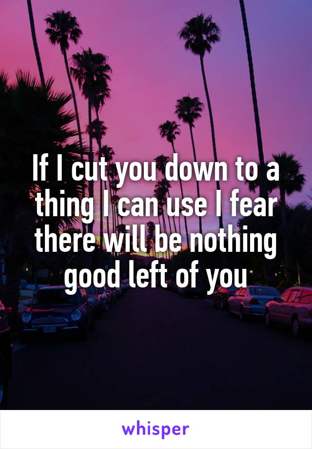 If I cut you down to a thing I can use I fear there will be nothing good left of you