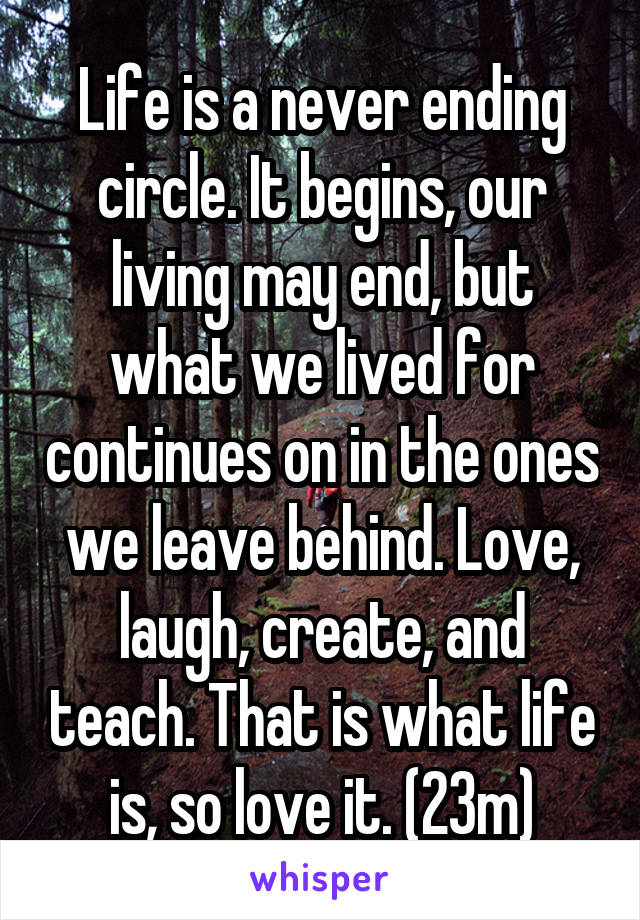Life is a never ending circle. It begins, our living may end, but what we lived for continues on in the ones we leave behind. Love, laugh, create, and teach. That is what life is, so love it. (23m)