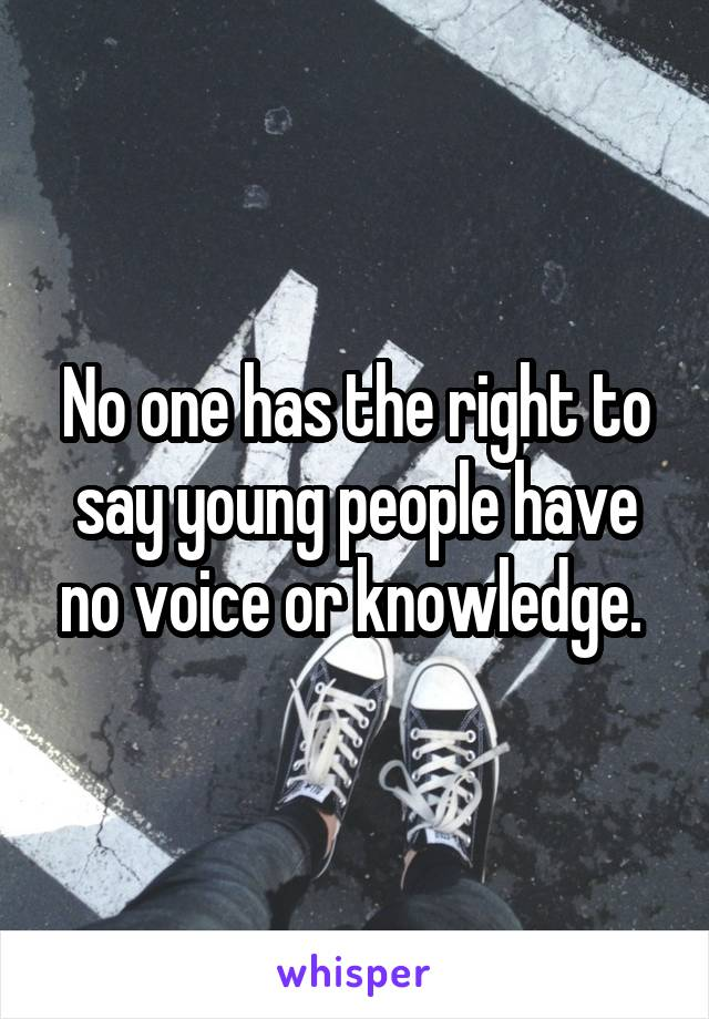 No one has the right to say young people have no voice or knowledge.