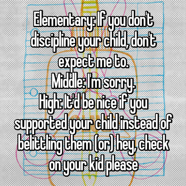 Elementary: If you don't discipline your child, don't expect me to. Middle: I'm sorry. High: It'd be nice if you supported your child instead of belittling them (or) hey, check on your kid please