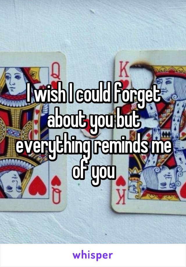 I wish I could forget about you but everything reminds me of you