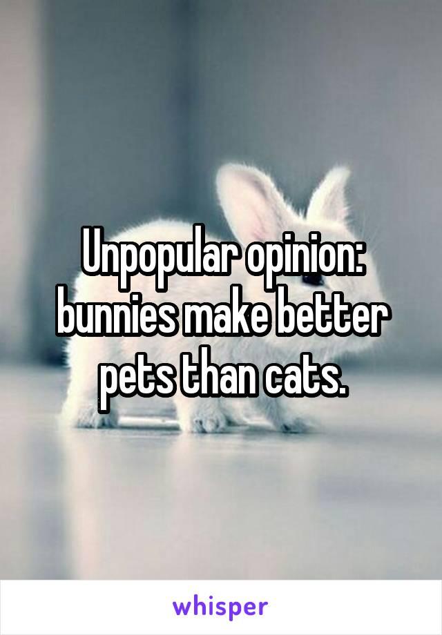 Unpopular opinion: bunnies make better pets than cats.