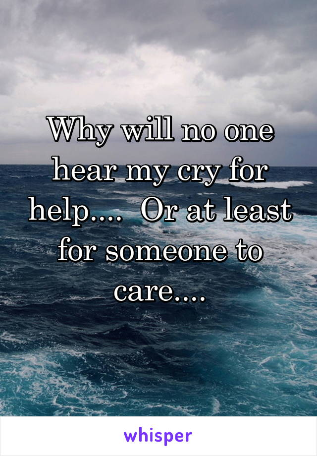 Why will no one hear my cry for help....  Or at least for someone to care....