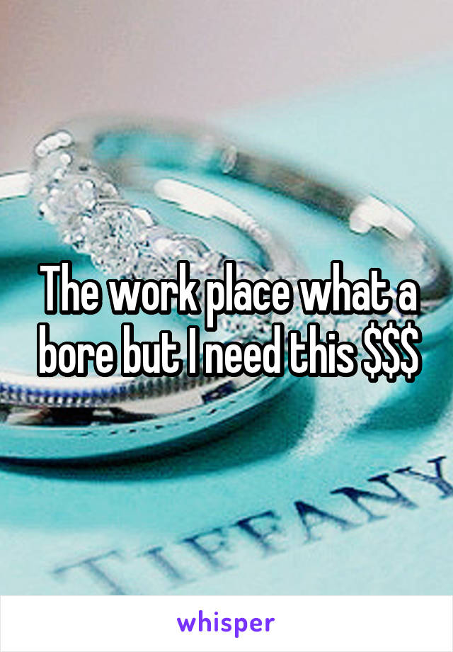 The work place what a bore but I need this $$$