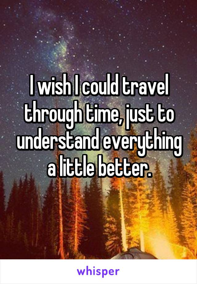 I wish I could travel through time, just to understand everything a little better.