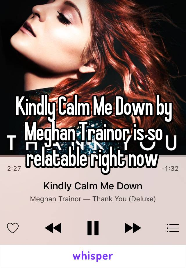 Kindly Calm Me Down by Meghan Trainor is so relatable right now