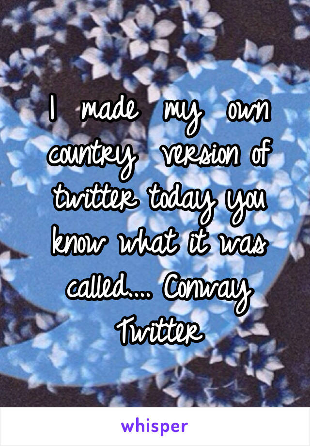 I  made  my  own country  version of twitter today you know what it was called.... Conway Twitter