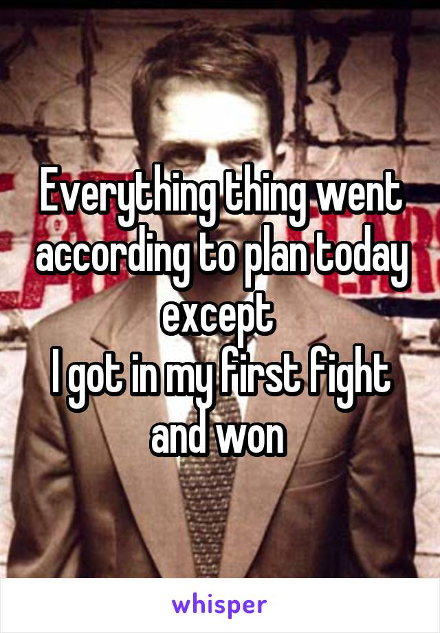 Everything thing went according to plan today except  I got in my first fight and won