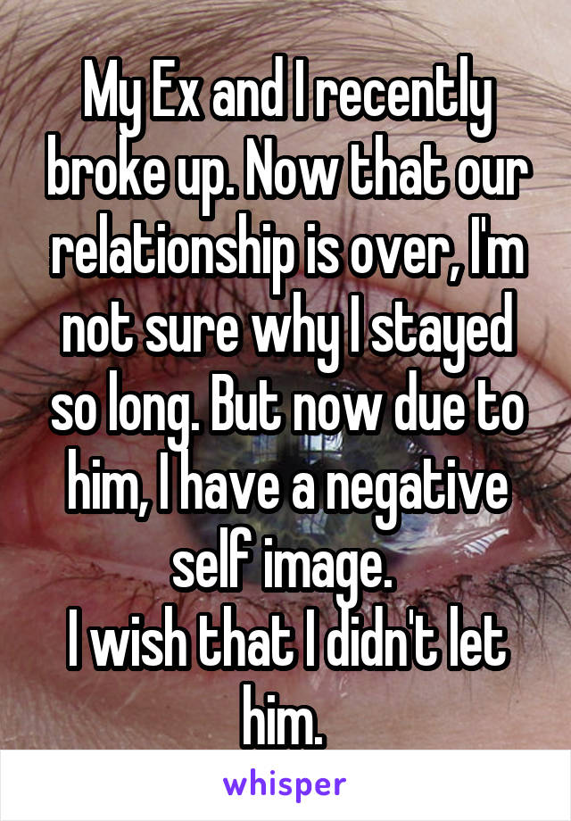 My Ex and I recently broke up. Now that our relationship is over, I'm not sure why I stayed so long. But now due to him, I have a negative self image.  I wish that I didn't let him.
