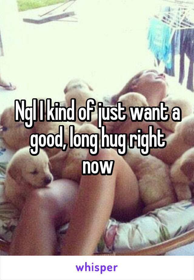 Ngl I kind of just want a good, long hug right now