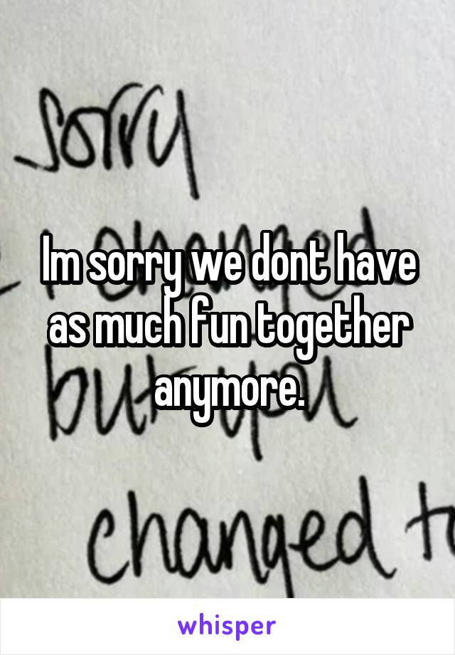 Im sorry we dont have as much fun together anymore.