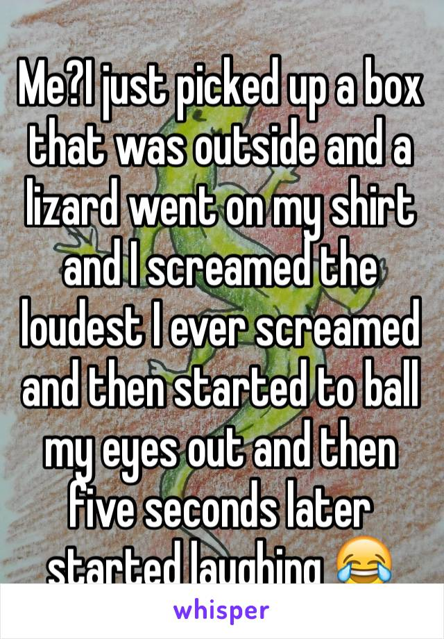 Me?I just picked up a box that was outside and a lizard went on my shirt and I screamed the loudest I ever screamed and then started to ball my eyes out and then five seconds later started laughing 😂