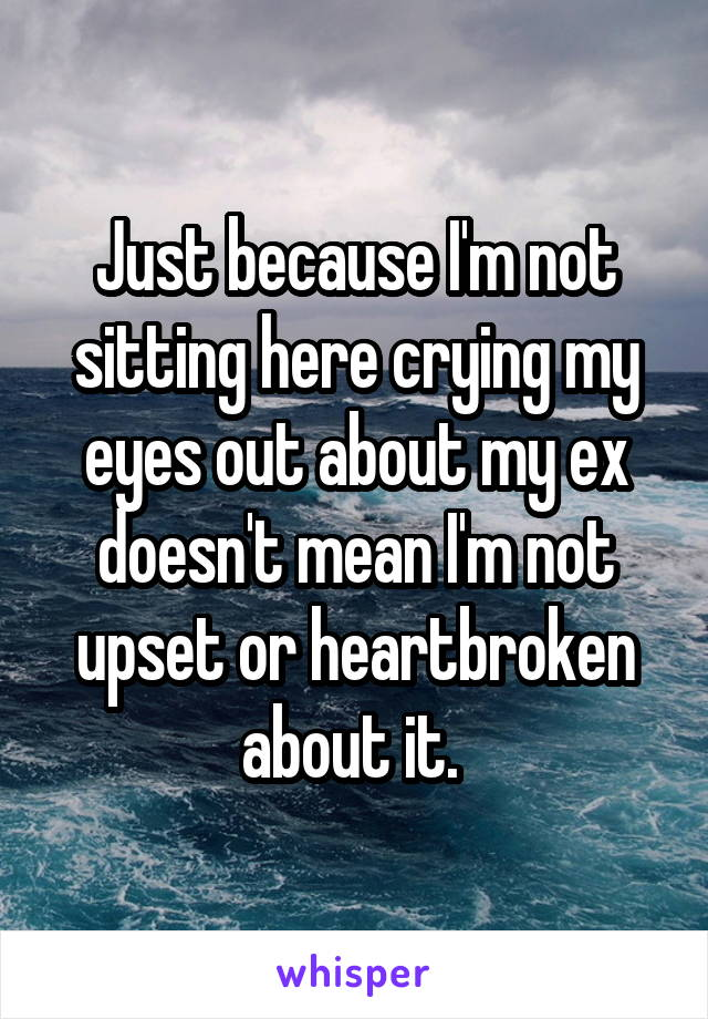 Just because I'm not sitting here crying my eyes out about my ex doesn't mean I'm not upset or heartbroken about it.