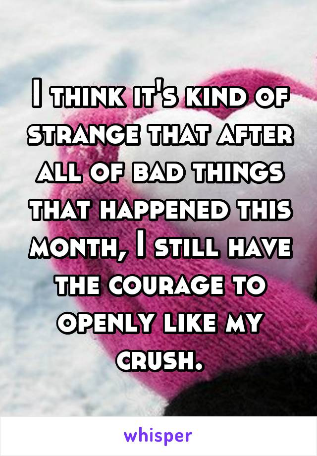 I think it's kind of strange that after all of bad things that happened this month, I still have the courage to openly like my crush.