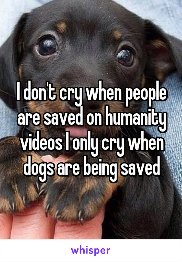 I don't cry when people are saved on humanity videos I only cry when dogs are being saved