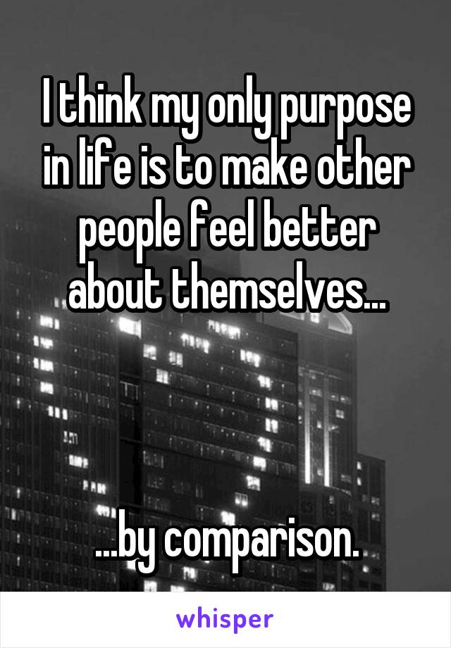 I think my only purpose in life is to make other people feel better about themselves...    ...by comparison.