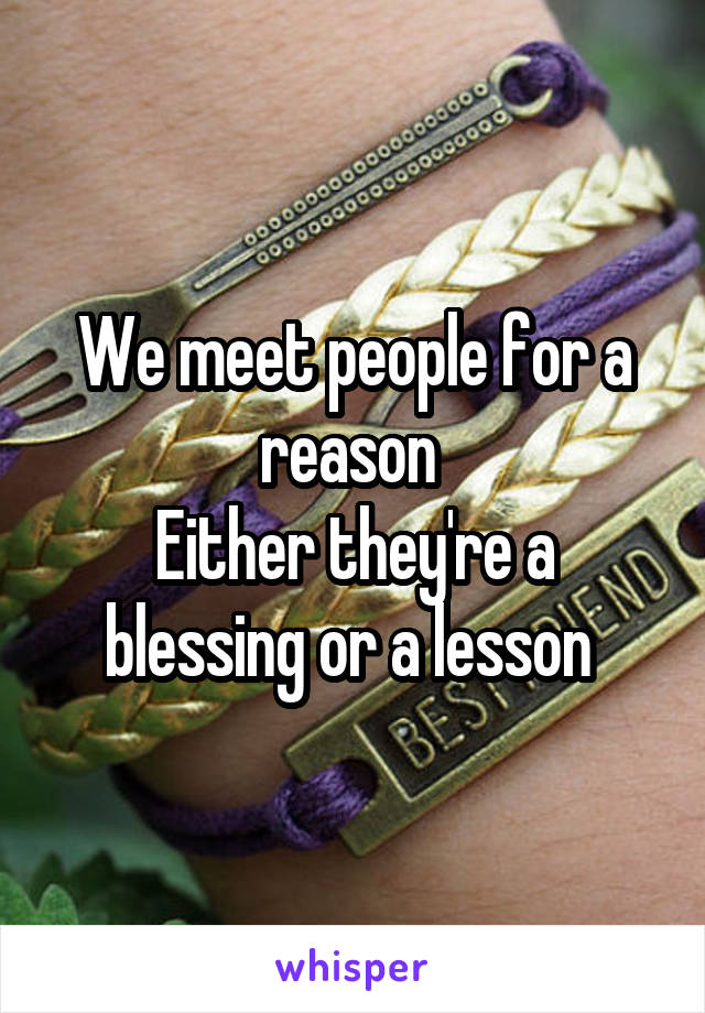 We meet people for a reason  Either they're a blessing or a lesson