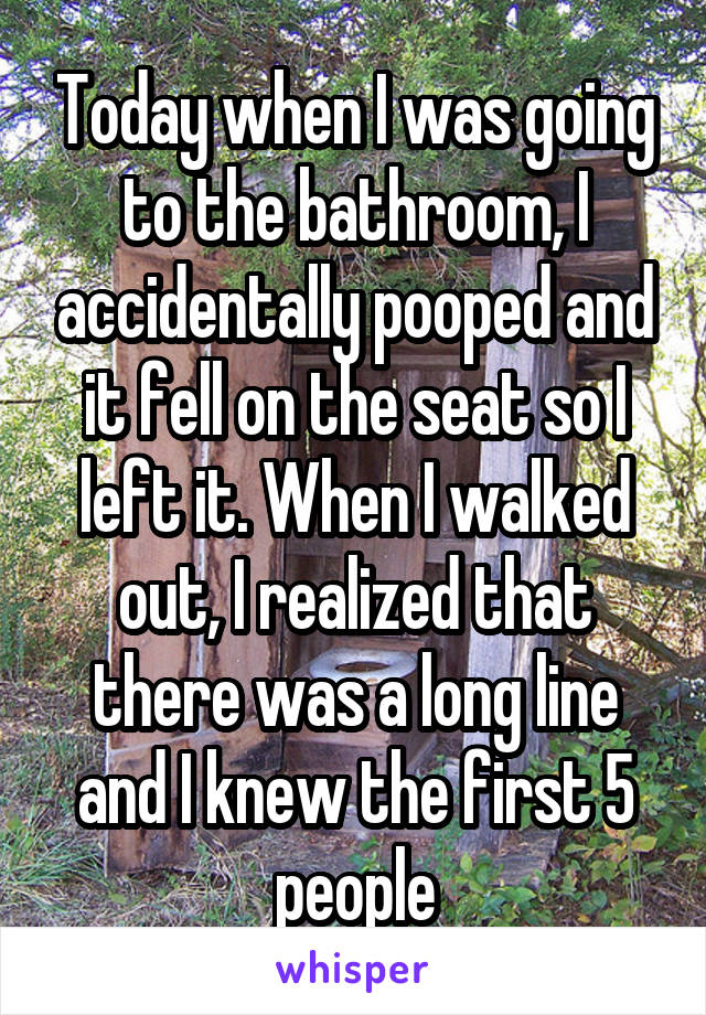Today when I was going to the bathroom, I accidentally pooped and it fell on the seat so I left it. When I walked out, I realized that there was a long line and I knew the first 5 people