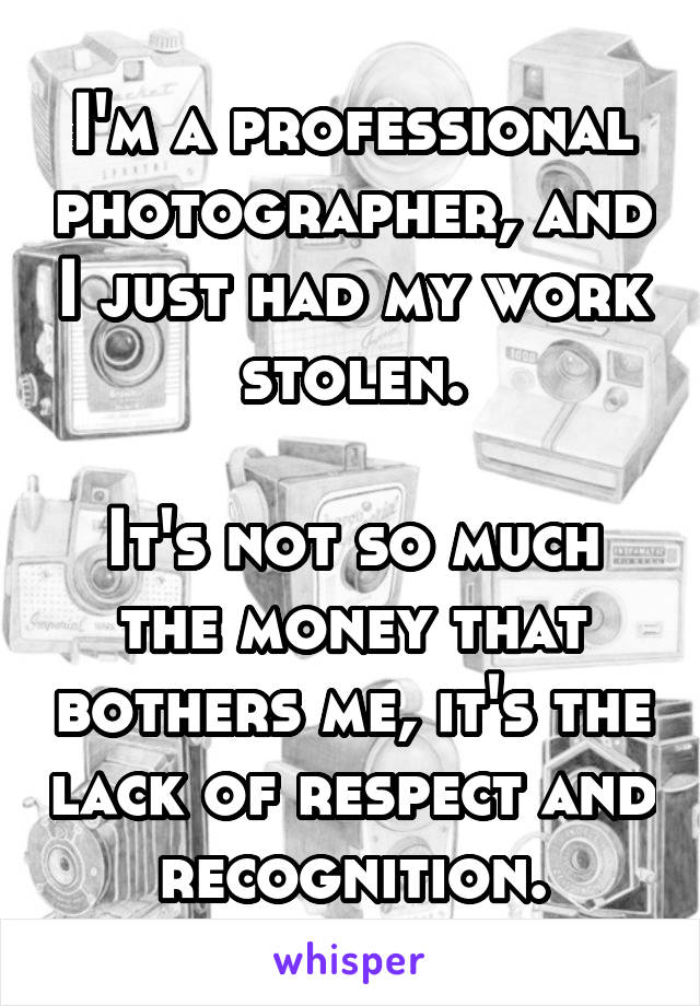 I'm a professional photographer, and I just had my work stolen.  It's not so much the money that bothers me, it's the lack of respect and recognition.