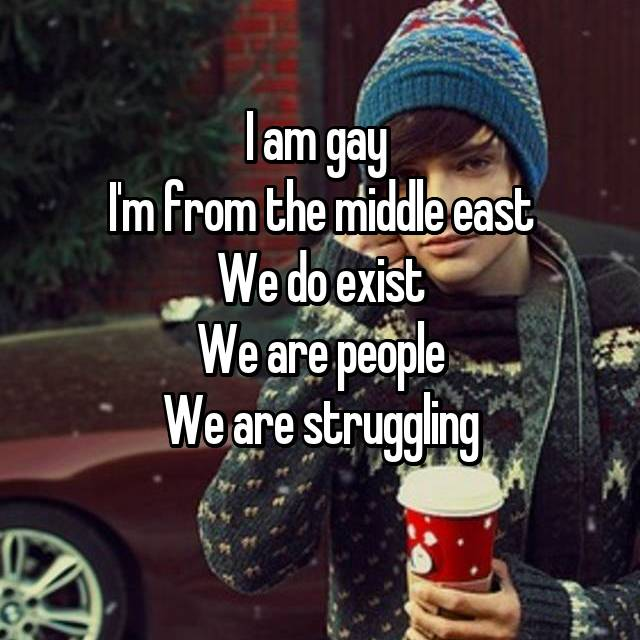 I am gay  I'm from the middle east We do exist We are people We are struggling