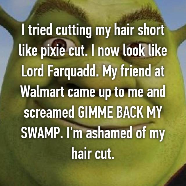 I tried cutting my hair short like pixie cut. I now look like Lord Farquadd. My friend at Walmart came up to me and screamed GIMME BACK MY SWAMP. I'm ashamed of my hair cut.