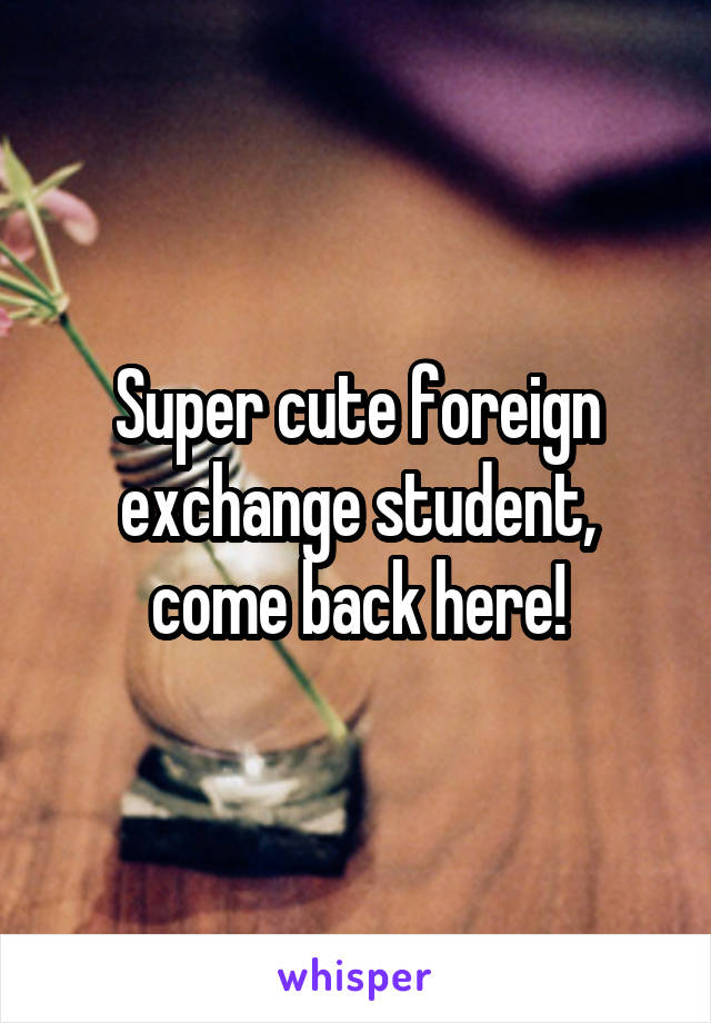Super cute foreign exchange student, come back here!