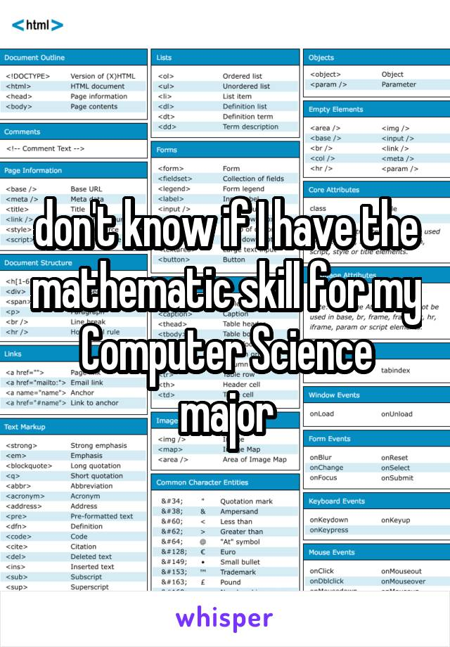 don't know if I have the mathematic skill for my Computer Science major