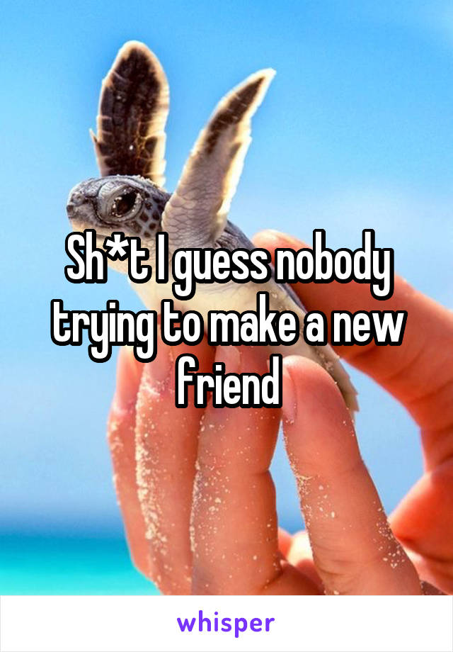 Sh*t I guess nobody trying to make a new friend
