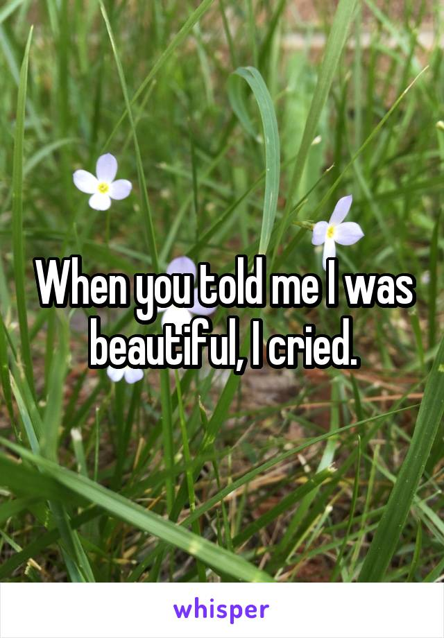 When you told me I was beautiful, I cried.