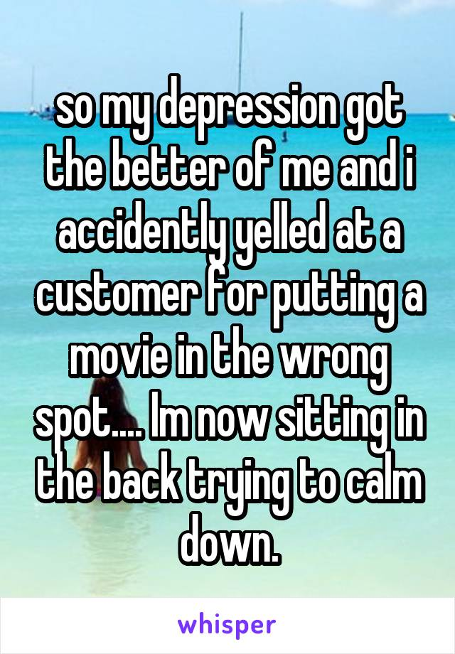 so my depression got the better of me and i accidently yelled at a customer for putting a movie in the wrong spot.... Im now sitting in the back trying to calm down.