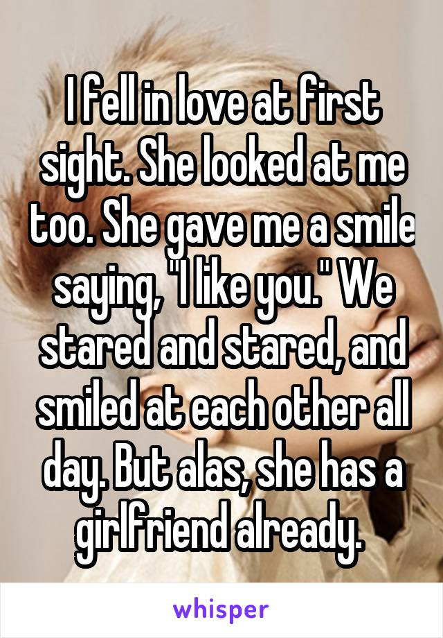 """I fell in love at first sight. She looked at me too. She gave me a smile saying, """"I like you."""" We stared and stared, and smiled at each other all day. But alas, she has a girlfriend already."""