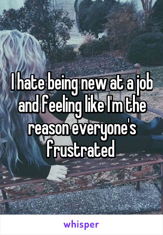 I hate being new at a job and feeling like I'm the reason everyone's frustrated