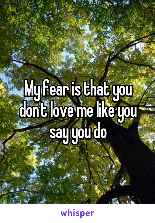 My fear is that you don't love me like you say you do
