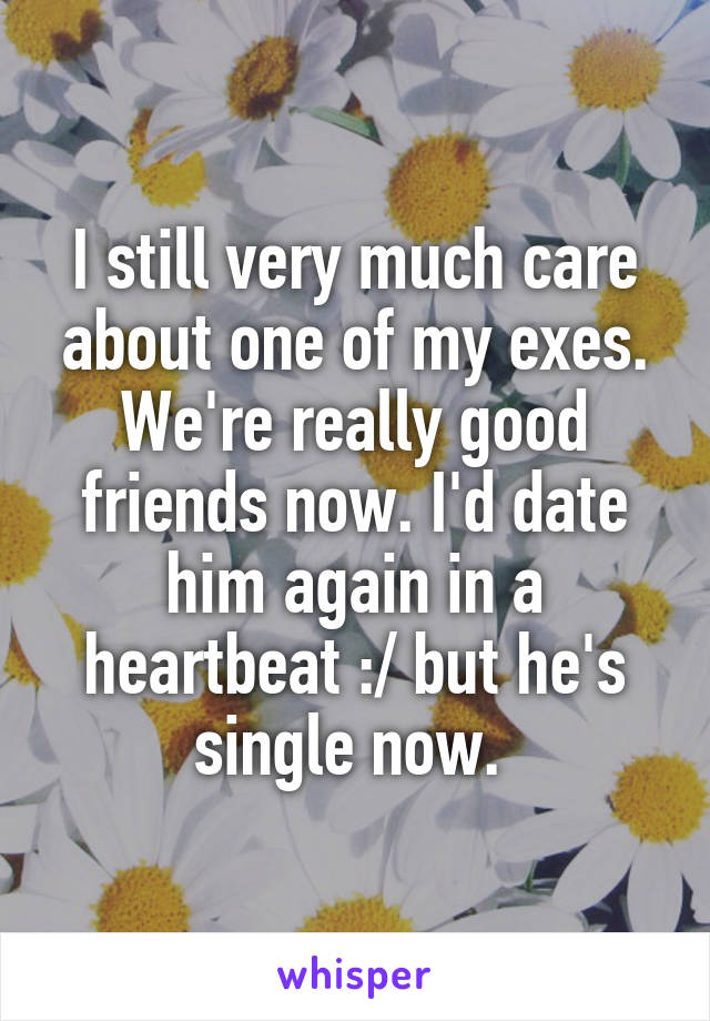 I still very much care about one of my exes. We're really good friends now. I'd date him again in a heartbeat :/ but he's single now.