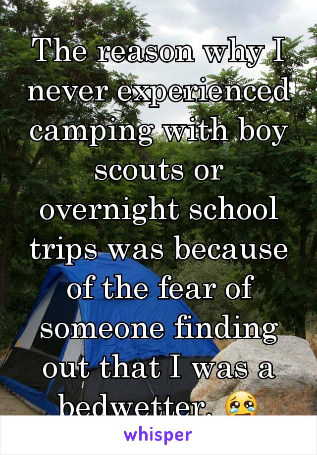 The reason why I never experienced camping with boy scouts or overnight school trips was because of the fear of someone finding out that I was a bedwetter. 😢