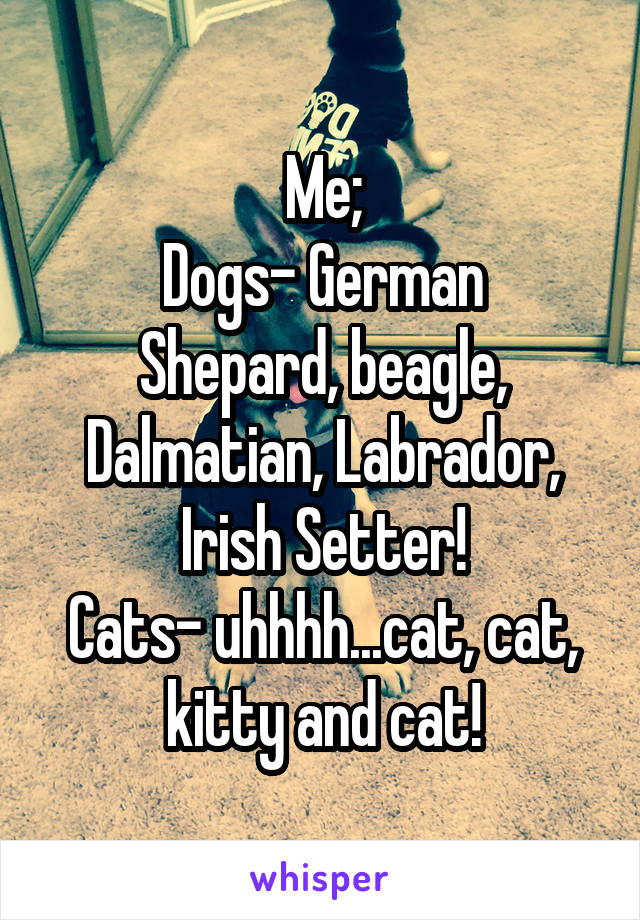 Me; Dogs- German Shepard, beagle, Dalmatian, Labrador, Irish Setter! Cats- uhhhh...cat, cat, kitty and cat!