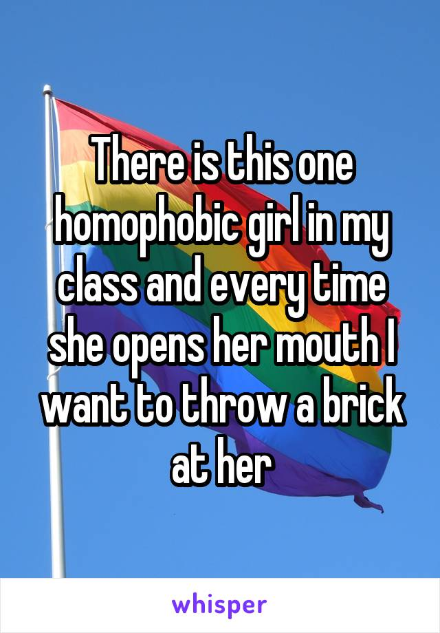There is this one homophobic girl in my class and every time she opens her mouth I want to throw a brick at her