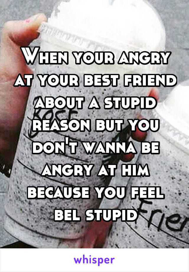 When your angry at your best friend about a stupid reason but you don't wanna be angry at him because you feel bel stupid