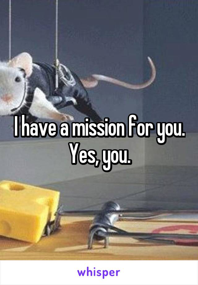 I have a mission for you. Yes, you.