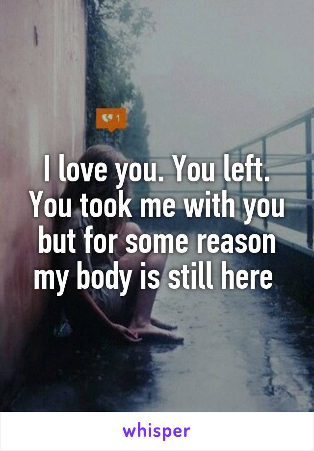 I love you. You left. You took me with you but for some reason my body is still here