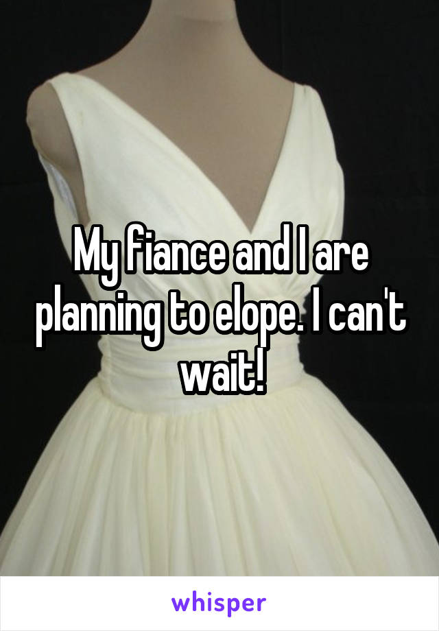 My fiance and I are planning to elope. I can't wait!